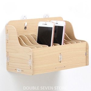 Wholesale Hanging wooden mobile phone management storage box desktop office meeting finishing grid multi cell phone rack shop display