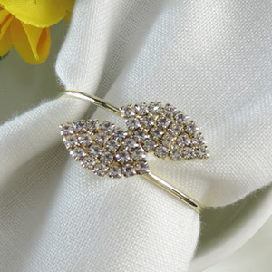Wholesale Futaba Grass Rhinestone Napkin Rings Metal Tablecloth Ring for Wedding Banquet Table Decoration Accessories Hotel Crystal Napkin Buckle
