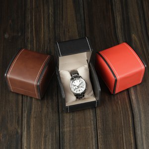 Wholesale New Exquisite Watch boxes leather simple jewelry bracelet watch box packaging box hand sewn Gift colors