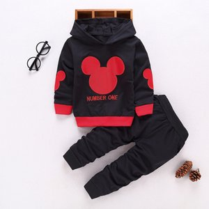 Wholesale Toddler Tracksuit Spring And Autumn Baby Clothing Sets Boys Girls Mickey Clothes Kids Hooded T-shirt And Pants 2 Pcs Suits J190717