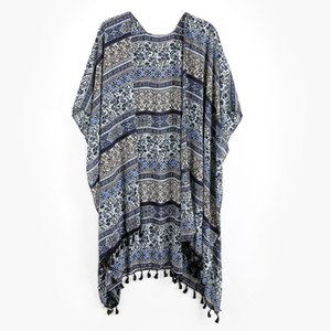 Wholesale New Arrive Womens Summer Vintage Geometric Floral Graphic Pattern Swimsuit Cover Up Cardigan Tassels Trim Scarf Shawl