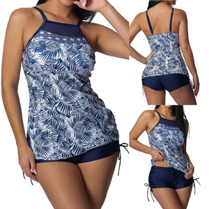 Bikini 2019 Sexy Women Plus Size Print Tankini top with high-waisted split swimsuit Swimwear bathing suit bathers Biquini