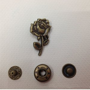 Wholesale 50PCS DIY Metal Copper Snap Button Rose Flowers Snap Buckle Fastener Zinc Alloy Bronze Color standard