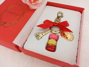 Wholesale Alloy Gold Plated France LADUREE Macaron Effiel Tower Keychain Fashion Keyring Key Chain bag charm accessories with gift box