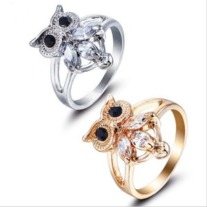 Wholesale Elegant Fashion Women s Zircon Owl Ring Gift Gold Silver Alloy Animal Modelling Ring Jewelry Size