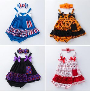 Wholesale Baby Girls Clothing Sets Infant Jumpsuit American Flag Dresses Halloween Striped Shorts Independence National Day Striped Bow Headband LT682