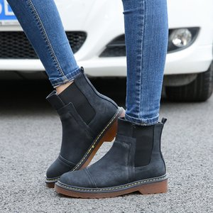 Women Trendy PU Leather Ankle Boots Martin Boots Designer Winter Shoes Motorcycle Style Boots Antislip Flat Heels Mid Long Shoes C92604 on Sale