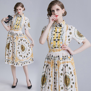 Wholesale New Arrival Hot Summer Luxury Floral Baroque Print Collar Short Sleeve Empire Waist Women Ladies Casual Party A Line Midi Beach Dress