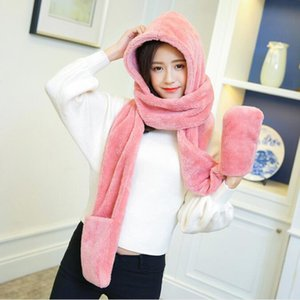 Wholesale 3 Piece Sets Fashion Hooded Srarves Scarf Hat Glove Women Winter Warm Soft Hood Scarf Snood Pocket Hats Gloves