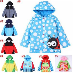 Wholesale kids hooded windbreaker patchwork printed plane animal zipper long sleeve clothes dot buckle windproof uv coats MMA1820