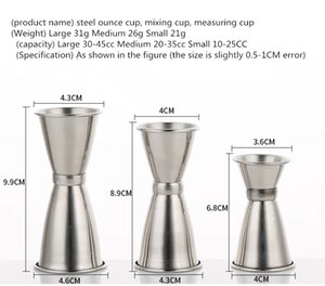 Stainless steel ounce cup double head wine measuring stainless steel measuring bottle two head wine glass bar counter on Sale