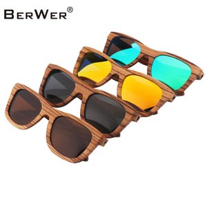 Wholesale BerWer Zebra Wooden Sunglasses Men Frame With Coating Mirrored Wood Sunglasses UV Protection Lenses in Cork Box