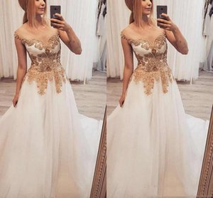 Sheer Neck Long Prom Dresses With Gold Appliqued Beaded A Line Tulle Floor Length Special Occasion Dresses Dubai Arabic Evening Dress on Sale