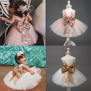 Wholesale Dress Girls Summer Dress Brand Backless Teenage Party Sequin Princess Children Costume for Kids Clothes Pink White T
