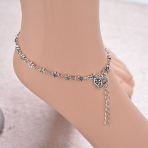 Wholesale 2019 Vintage Silver Tassels Flower Heart Pendant Foot Anklets Bracelets Fashion Smart Bangles For Women BB110