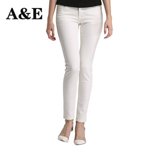 Wholesale Alice Elmer Skinny Jeans Woman Jeans For Girls Shortened Women Mid Waist Stretch Female Pants White