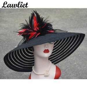 Summer Women Fashion Sun Hat Polyester And Feather Floral uv protect big brim summer beach hat A350