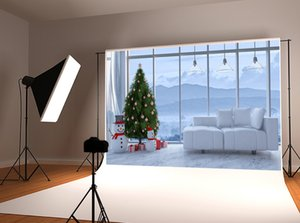 Dream 7x5ft Christmas living Room Photography Backdrop Xmas Tree Snowman Window Photo Background for Winter Holiday Party Shoot Studio Prop