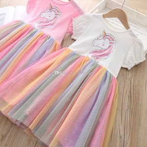 Wholesale kids designer clothes girls Rainbow mesh Dress children unicorn lace Princess dresses Summer fashion Boutique Kids Clothing C6801