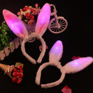 Wholesale toys for rabbits resale online - Flash LED Hair Bands Bow Light Up Toys Prom Dress Up Rave Toy Flashing Rabbit Ears Headband For Halloween Xmas Party Supplies gift