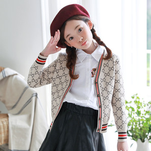 Wholesale Retail kids jackets Korean big girl knitted sweater single breasted cardigan girls coat outwear children clothing boutique clothes