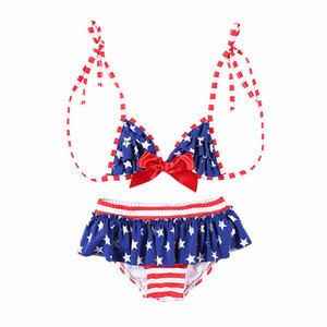 Baby Girl Sexy Swimsuit Kids Stars Bow Lace Sexy Bikinis Set American Flag Independence National Day USA 4th July Two-Piece