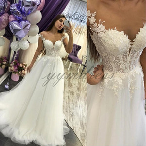 Wholesale 2019 White Evening Dresses Lace Applique Beaded Sexy Back Off Shoulder Long Prom Gowns Formal Party Wear