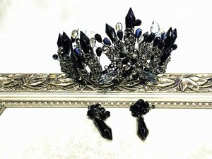 Bride headdress black retro Baroque crystal column exaggerated Crown Studio hair accessories wedding accessories on Sale