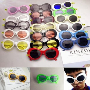 Wholesale 19 style Men Women Punk Rock Shades round Eyewear NIRVANA Kurt Cobain Sunglasses Retro Vintage Oval Sun glasses MMA2114