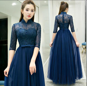 Wholesale Dark Navy Formal Sleeve High Collar Mother s Dresses Lace and Tulle Wedding Party Dress Long Floor length Mother Of the Bride Dresses