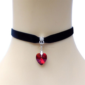 Wholesale Heart Crystal Victorian Choker Necklace Goth Vintage Gothic Velvet Chokers Multi Color Pendant Chocker For Women Jewelry
