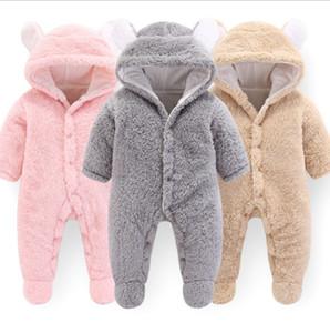 Wholesale Designer Baby Clothes Solid Baby Girls Hooded Rompers Warm Infant Boy Jumpsuits Cute Toddler Outwear Christmas Baby Clothing DW4158