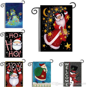 Wholesale Christmas Garden flags Santa Claus Theme Home Garden Courtyard Hanging Flag Xmas Decoration Banner Ornament Accessories