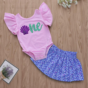 Wholesale Girl Shell Letter Print Fish Scale Romper Dress Set Baby Jumpsuit Skirt Suit Kids Clothes Two Pieces ZHT