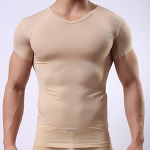 Man Undershirt Men Sexy Ice Silk Sheer Basic Shirts Male Mesh Transparent V-neck Short Sleeves Inner Tops on Sale