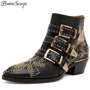 Wholesale Buonoscarpe Zapatos Mujer Susanna Studded Real Leather Ankle Boots Round Toe Rivet Flower Martin Boots Women Luxury Velvet Boots MX190801