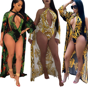 Wholesale Sexy set women Retro Print One piece Swimsuit with Cover Deep V Backless swimwear Beachwear women summer beach bikini Bathing Suits