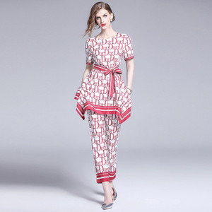 Wholesale Fashion Elegant Women s Two Piece Pants Nice Printed Runway Style Lady s Piece Sets Beauty T Shirt and Long Pants Sets