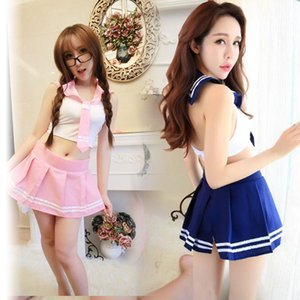 Wholesale Sexy mini dress Cosplay School girl fantasy Student Suit skirt Lady tie Uniform Costumes porn Adult Sex Games erotic set Outfit
