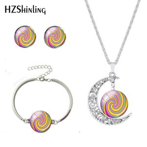 New Arrival Beauty Rotating Pattern Colorful Line Moon Necklace 12mm Silver Earrings Adjustable Bracelet Handmade Jewelry Set