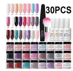 Wholesale Azure Beauty Dipping Full Set Glitter Gradient Color Nail Dip Base Top Gel Activator Brush Saver Set