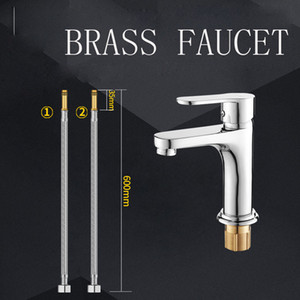 Wholesale Bathroom cabinet basin faucet hot and cold faucets washbasin tap single handle and hole with two stainless steel braided pipe