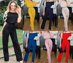 Wholesale Summer Fashion Button up Short sleeved Jumpsuit with Belt Pure Color Street Corner Moist Person Women s One piece Pants