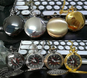 Mix 4Colors Quartz watches Necklace Chain Bronze pocket Roman watches PW080