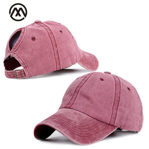 Wholesale Retro Solid Color Fashion Baseball Caps Ms Ponytail Baseball Cap High Quality Adjustable outdoor Visor Truck Driver hats bonnet