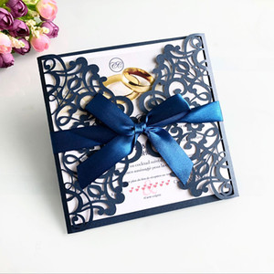 Wholesale 2019 New Laser Cut Invitations Cards With Ribbons For Wedding Bridal Shower Engagement Birthday Graduation Cards
