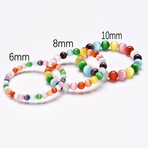 3 Size Rainbow Cats Eye Opal Stone Bracelets Fashion Colorful Natural Stone Round Ball Beaded Bracelets Wristband Jewelry Accessories M199R