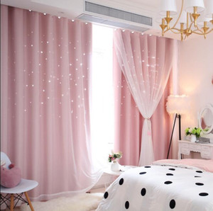 Wholesale curtain living room resale online - Star Curtain Openwork star curtain finished Princess wind children s window curtain bedroom living room blackout cloths