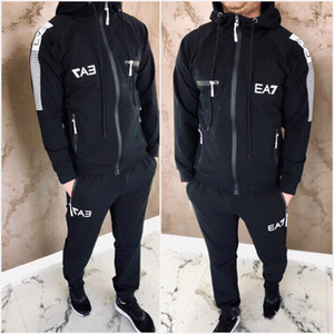 Letter Printed 2020 Tracksuit Fashion Zipper Cardigan Men Sportswear Two Piece Sets hoodie+Pants Sporting Suits Top Quality