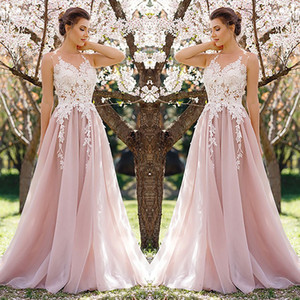 Wholesale 2018 Modest Lace Prom Dresses Sheer Top A Line Floor Length Cheap Evening Gowns See Through Pink sweet 15 dresses Elegant special occasion